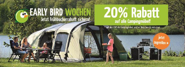 Early Bird-Wochen bei doorout.com - 20% Rabatt auf alle Campingmöbel