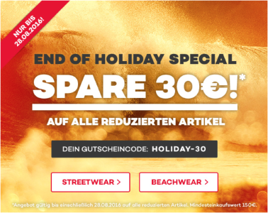 End of Holiday Special bei planet-sports.de - 30€ auf Sale-Artikel