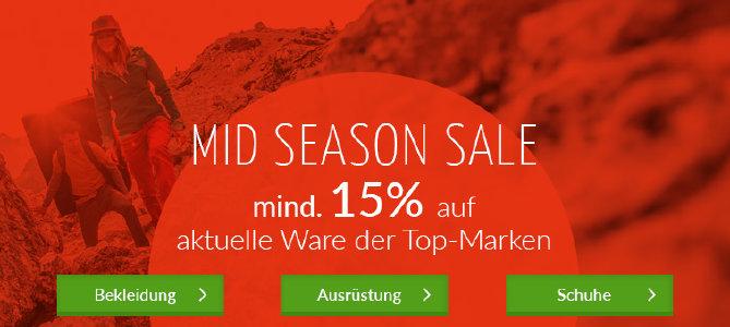 Mid Season Sale mit mind. 15 % Rabatt auf aktuelle Ware bei bergzeit.de