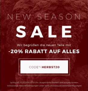 New Season Sale bei aboutyou.de - 20% Rabatt auf alles
