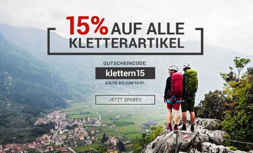 15% Rabatt auf alle Kletterartikel bei BergsportWelt