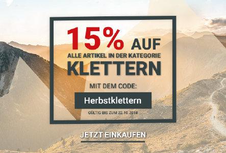 15% Rabatt auf alle Kletterartikel bei bergsport-welt.de