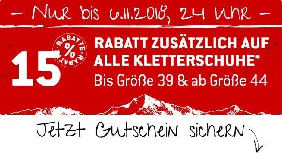 15% Rabatt auf ausgewählte Kletterschuh-Größen bei bergfreunde.de
