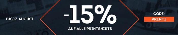 15% Rabatt auf ausgewählte Printshirts bei Sportscheck