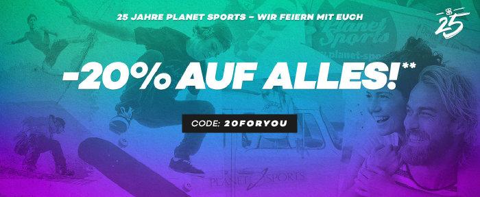 20 % auf alles bei Planet Sports