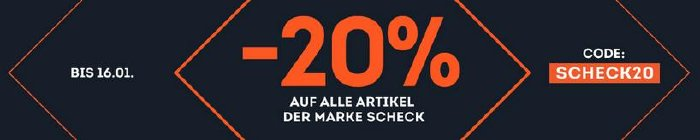 20% Rabatt auf alle SCHECK Produkte bei sportscheck.com