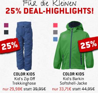 25 % auf Color Kids Trekkinghose & Softshell-Jacke