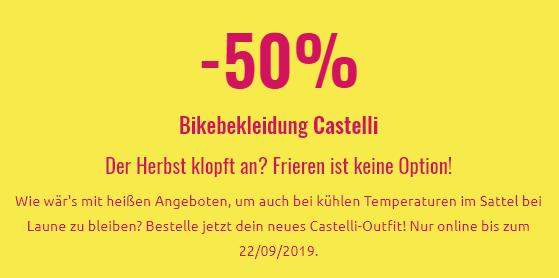 Bis zu 50% Rabatt auf ausgewählte Bikebekleidung von Castelli bei sportler.com