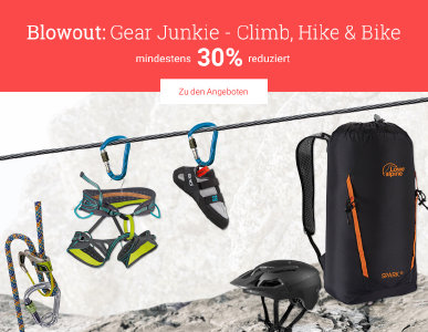 Blowout: Gear Junkie - Climb, Hike & Bike mind. 30% reduziert bei Bergzeit