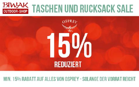 Minimum 15% Rabatt auf Artikel von Osprey bei biwak.com