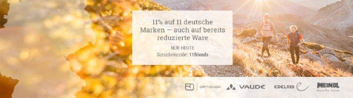 Nur heute! 11% Rabatt auf 11 deutsche Marken bei bergzeit.de