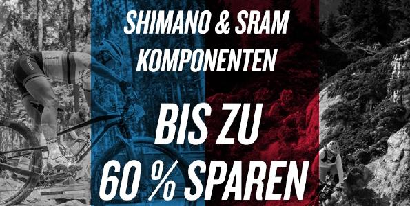 Shimano und SRAM Komponenten mit bis zu 60 % Rabatt bei Chain Reaction Cycles